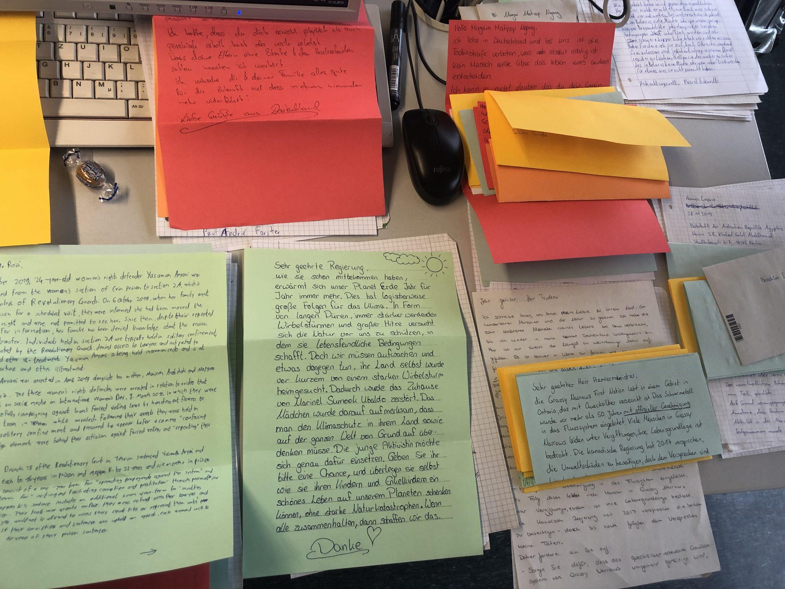 Bild von Briefen im Rahmen des Briefmarathons