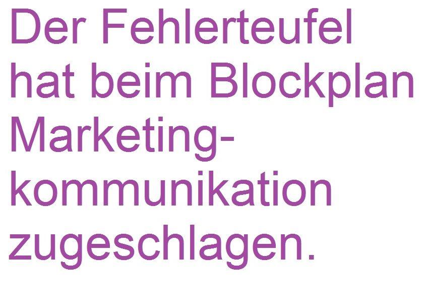 ACHTUNG – Fehler im Blockplan Marketingkommunikation