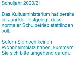 Präsenzunterricht - Wohnheimplatz besorgen