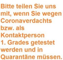 Bitte um Information über Quarantäne