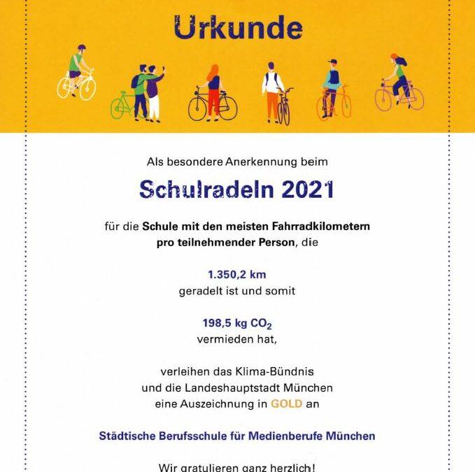 Urkunde vom Schulradeln 2021